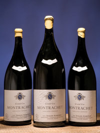 Montrachet 2002 Ramonet late release from the Domaine, Domaine's cellar inventory writing on the back side of bottle rea...