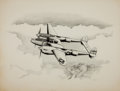 Military & Patriotic:WWII, Original Ink and Graphite Drawings of World War II American Aircraft, including a Lockheed P-38 Lightning, a Curtiss P-40, and... (Total: 3 Items)