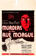 "Movie Posters:Horror, Murders in the Rue Morgue (Universal, 1932). Window Card (14"" X22"").. ..."