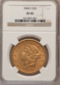 Liberty Double Eagles: , 1868-S $20 XF45 NGC. NGC Census: (249/945). PCGS Population(128/276). Mintage: 837,500. Numismedia Wsl. Price for problem ...