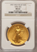 High Relief Double Eagles, 1907 $20 High Relief, Wire Rim MS64 NGC. NGC Census: (503/193). PCGS Population (1036/371). Mintage: 11,250. Numismedia Wsl...