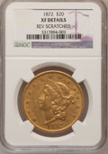 Liberty Double Eagles: , 1872 $20 --Reverse Scratched--NGC Details. XF. NGC Census: (7/593).PCGS Population (20/396). Mintage: 251,880. Numismedia W...