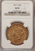 Liberty Double Eagles: , 1871-S $20 AU50 NGC. NGC Census: (145/1026). PCGS Population(82/285). Mintage: 928,000. Numismedia Wsl. Price for problem ...
