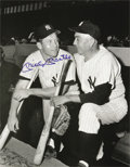 Baseball Collectibles:Photos, 1980's Mickey Mantle Signed Oversized Photograph with Home RunBaker. Exceptional image of two hard-slugging Yankees is sig...