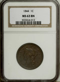 Large Cents: , 1844 1C MS63 Brown NGC. NGC Census: (18/27). PCGS Population (9/7).Mintage: 2,398,752. Numismedia Wsl. Price: $400. (#1856...