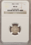 Seated Half Dimes, 1862 H10C MS66 NGC....