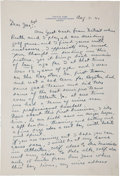 Baseball Collectibles:Others, 1941 Ty Cobb Handwritten Letter (Not Signed)....
