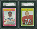 Football Cards:Lots, 1972 Topps Football High Number Tommy Nobis and Rayfield Wright SGC 96 MINT 9's (2). ...
