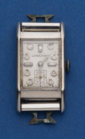 Timepieces:Wristwatch, Longines Palladium Diamond Dial Wristwatch. ...