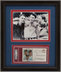 Baseball Collectibles:Photos, Joe and Dom DiMaggio Multi Signed First Day Cover Display....