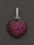 Estate Jewelry:Pendants and Lockets, White Gold & Ruby Diamond Pendant. ...