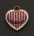 Estate Jewelry:Pendants and Lockets, Ruby & Diamond Heart Pendant. ...
