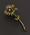 Estate Jewelry:Brooches - Pins, Enamel, Diamond & Sapphire Pin. ...