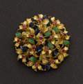 Estate Jewelry:Brooches - Pins, Gold, Enamel & Ruby Brooch. ...