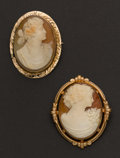 Estate Jewelry:Cameos, Two Gold Framed Shell Cameos. ... (Total: 2 Items)