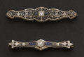 Estate Jewelry:Brooches - Pins, Two White Gold & Diamond Pins. ... (Total: 2 Items)