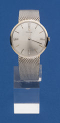 Timepieces:Wristwatch, Omega 14k White Gold With A 14k White Gold Bracelet. ...