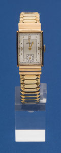 Timepieces:Wristwatch, LeCoultre 14k Gold Hooded Lugged Rectangular Wristwatch. ...
