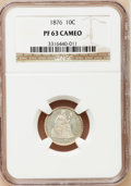 Proof Seated Dimes: , 1876 10C PR63 Cameo NGC. NGC Census: (8/19). PCGS Population(6/15). (#84773)...