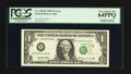 Error Notes:Shifted Third Printing, Fr. 1924-B $1 1999 Federal Reserve Note. PCGS Very Choice New 64PPQ.. ...