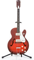 Musical Instruments:Electric Guitars, 1960's Harmony Rocket Red Semi-Hollow Body Electric Guitar#3959H54....