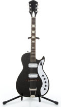 Musical Instruments:Electric Guitars, Vintage Silvertone 1423 Black Semi-Hollow Body Electric Guitar #N/A...