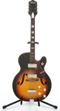 Musical Instruments:Electric Guitars, Vintage Harmony Meteor Sunburst Semi-Hollow Body Electric Guitar#1775H70....