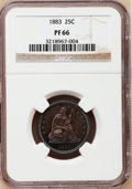 Proof Seated Quarters: , 1883 25C PR66 NGC. NGC Census: (24/18). PCGS Population (21/8).Mintage: 1,039. Numismedia Wsl. Price for problem free NGC/...