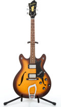 Musical Instruments:Electric Guitars, 1970'S Hagstrom V-I-N Sunburst Semi-Hollow Body Electric Guitar #828104....