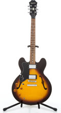Musical Instruments:Electric Guitars, 2004 Epiphone DOT VS Left Handed Sunburst Semi-Hollow Body ElectricGuitar #EE04023075....