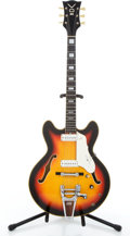 Musical Instruments:Electric Guitars, 1960's Vox Super Lynx Sunburst Semi-Hollow Body Electric Guitar#326898....