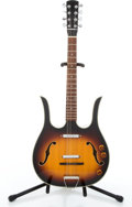 Musical Instruments:Drums & Percussion, 1970's No Name Danelectro Copy 8-String Sunburst Semi-Hollow Body Electric Guitar #MC9605....