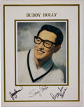 Music Memorabilia:Autographs and Signed Items, Buddy Holly Related - The Crickets and Peggy Sue Signed DedicationProgram Book plus Photos.... (Total: 13 )