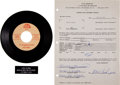 Music Memorabilia:Autographs and Signed Items, Bobby Freeman and Dick Clark Signed Contract....