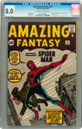 Silver Age (1956-1969):Superhero, Amazing Fantasy #15 (Marvel, 1962) CGC VF 8.0 Off-white to white pages....