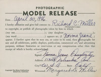 Marilyn Monroe Signed Norma Jeane Dougherty Model Release Form, 1946