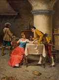 Paintings, PROPERTY FROM A PRIVATE TEXAS COLLECTION. FRANCESCO PELUSO (Italian, 1836-1936). The Courtship. Oil on canvas . 26 x 1...