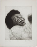 Music Memorabilia:Autographs and Signed Items, Rolling Stones Related - Ron Wood Signed Drawing of James Brown....