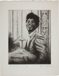 Music Memorabilia:Original Art, Rolling Stones Related - Ron Wood Signed Drawing of Little Richard....