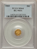 California Fractional Gold, 1868 50C Indian Octagonal 50 Cents, BG-960A, High R.6, MS64PCGS....