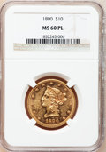 Liberty Eagles, 1890 $10 MS60 Prooflike NGC....