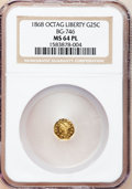 California Fractional Gold, 1868 25C Liberty Octagonal 25 Cents, BG-746, High R.4, MS64Prooflike NGC....