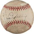 Baseball Collectibles:Balls, 1935 New York Yankees Team Signed Baseball - With Stellar Gehrig on Sweet Spot!...