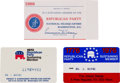 Movie/TV Memorabilia:Memorabilia, Three Republican Party Membership Cards, 1960s-1970s.... (Total: 3)