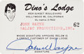 Movie/TV Memorabilia:Memorabilia, A Twice-Signed 'Dino's Lodge' Membership Card, 1962.. ...