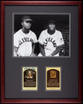 Baseball Collectibles:Photos, Larry Doby and Satchel Paige Signed Hall of Fame PostcardsDisplay....