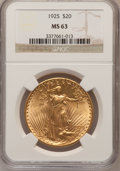 Saint-Gaudens Double Eagles: , 1925 $20 MS63 NGC. NGC Census: (16757/19319). PCGS Population(13612/18582). Mintage: 2,831,750. Numismedia Wsl. Price for ...