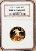 Modern Bullion Coins: , 1994-W G$25 Half-Ounce Gold Eagle PR70 Ultra Cameo NGC. NGC Census:(427). PCGS Population (117). Numismedia Wsl. Price fo...