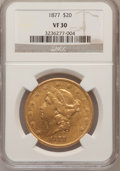Liberty Double Eagles: , 1877 $20 VF30 NGC. NGC Census: (2/856). PCGS Population (1/750).Mintage: 397,670. Numismedia Wsl. Price for problem free N...