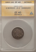 Early Dimes, 1805 10C 4 Berries -- Damaged -- ANACS. XF40 Details. JR-2, R.2....